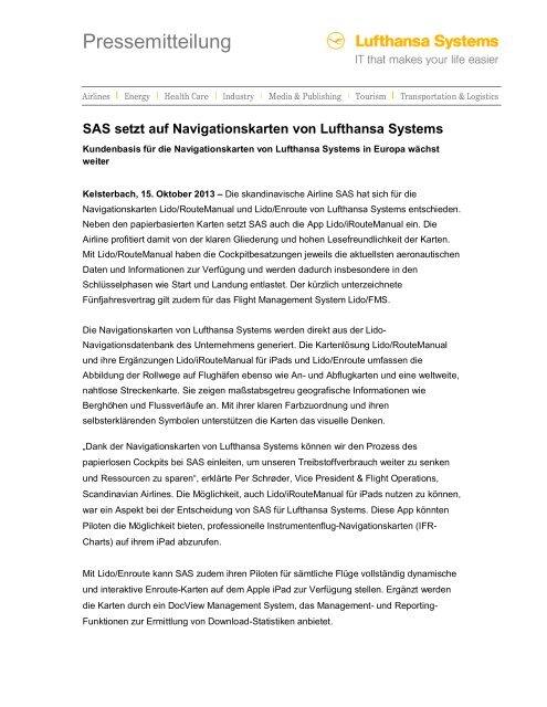Flugrouten Karte Weltweit Lufthansa.Pressemitteilung Lufthansa Systems Ag