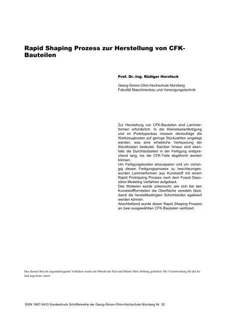 Rapid Shaping Prozess zur Herstellung von CFK-Bauteilen