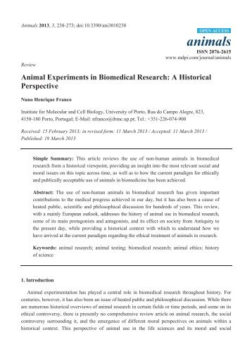 Animal Experiments in Biomedical Research: A ... - MDPI.com