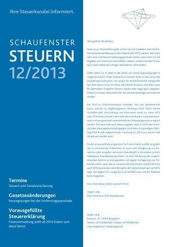 STEUERN 12/2013 - Steuerberater Jürgen Lang