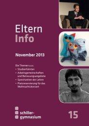Elterninfo 15 vom November 2013 - Schiller Gymnasium