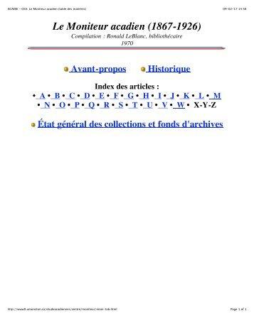 Le Moniteur acadien - Université de Moncton