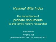 National Wills Index - Origins.net