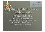 Stellenwert der invsiven Verfahren in der Palliativmedizin