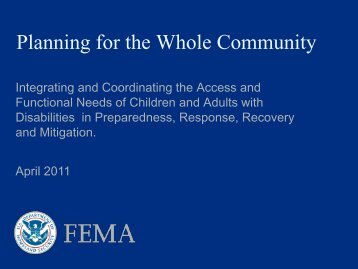 Planning for the Whole Community - Federal Emergency ...