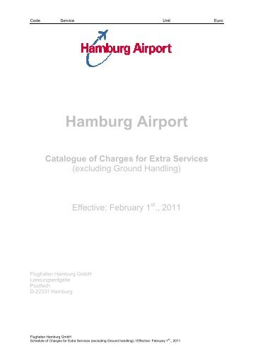 Charges for Extra Services - Hamburg Airport