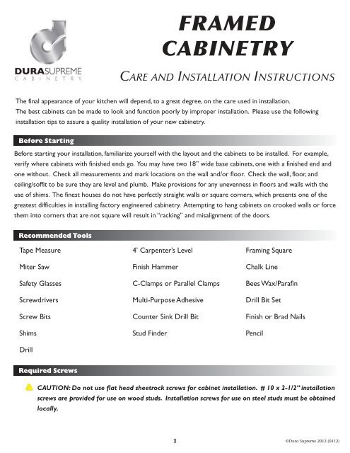 Dura Supreme Care Guide - KSI Kitchen and Bath