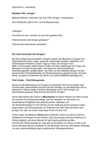 "Baustein Film ""Hunger"" Material: Beamer, Leinwand, Lap Top, Film ..."