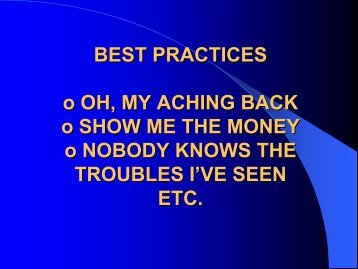 BEST PRACTICES o OH, MY ACHING BACK o ... - HCIS Insurance