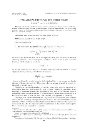 Variational Principles for Water Waves - Department of Mathematics