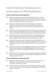 Frühere Referate, Workshops und Vorlesungen von Rolf Deubelbeiss