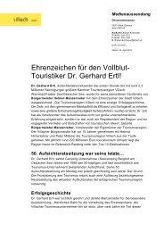 Ehrenzeichen für den Vollblut- Touristiker Dr. Gerhard Ertl! - Villach