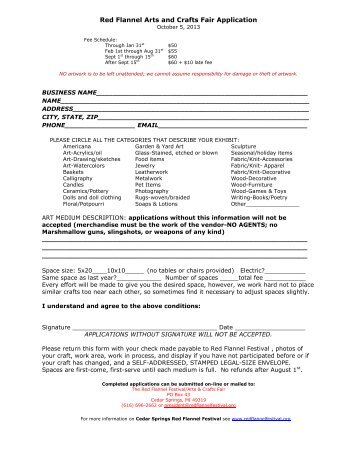 Red Flannel Arts and Crafts Fair Application - Red Flannel Festival