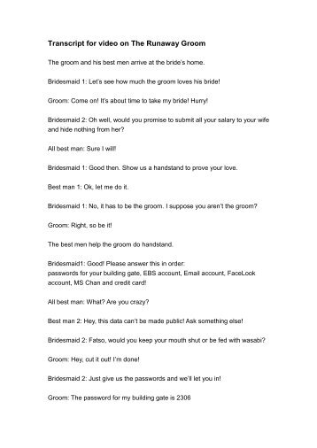 Download transcript (pdf file) - The Runaway Groom