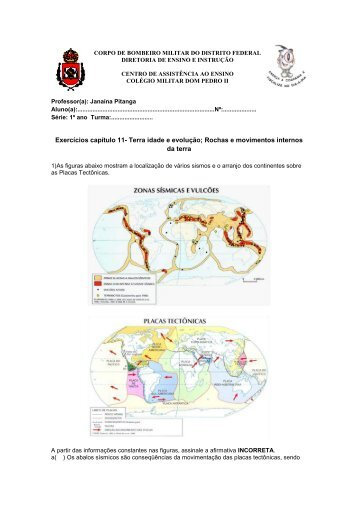 Exercícios capítulo 11- Terra idade e evolução; Rochas e ...