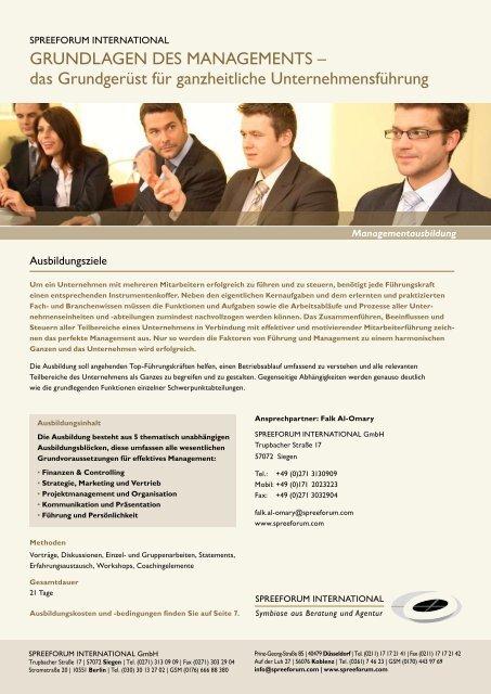 GRUNDLAGEN DES MANAGEMENTS - Spreeforum International ...
