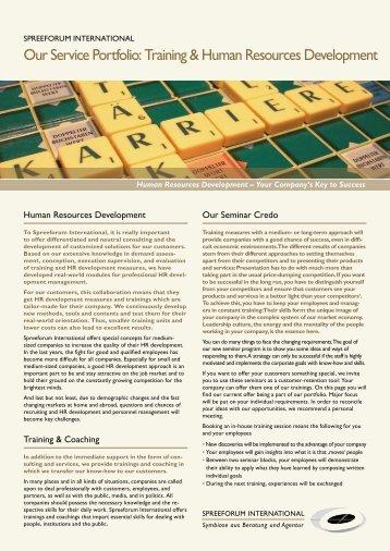 Training & Human Resources Development - Spreeforum ...