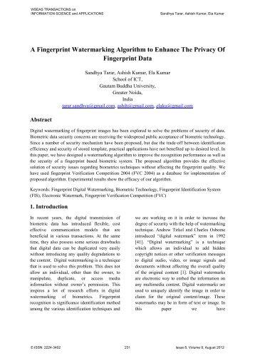 A Fingerprint Watermarking Algorithm to Enhance The ... - WSEAS