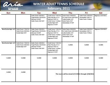 WINTER ADULT TENNIS SCHEDULE February, 2011