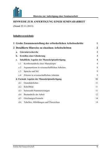 HINWEISE ZUR ANFERTIGUNG EINER SEMINARARBEIT (Stand ...