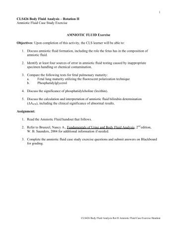 CLS426 Body Fluid Analysis – Rotation II Amniotic Fluid ... - UNMC