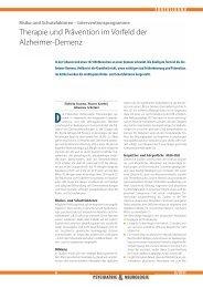 Therapie und Prävention im Vorfeld der Alzheimer-Demenz
