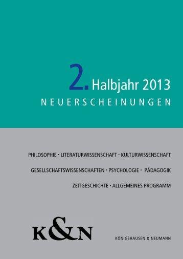 2.Halbjahr 2013 - Verlag Königshausen & Neumann