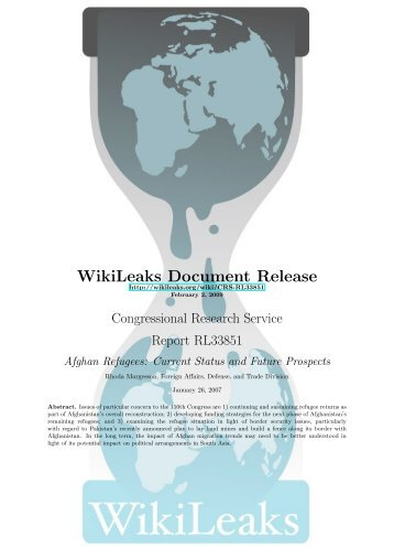 Afghan Refugees - WikiLeaks CRS reports