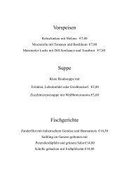 Vorspeisen Suppe Fischgerichte - Restaurant Steiner