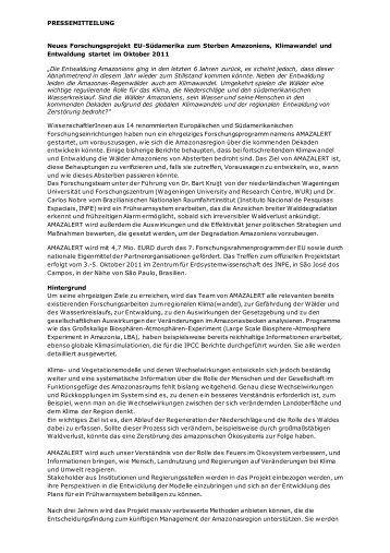 PRESSEMITTEILUNG Neues Forschungsprojekt EU ... - AMAZALERT