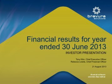 Investor Presentation - Bravura Solutions