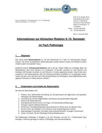 Modell Rotationen in der Pathologie - Fachbereich Veterinärmedizin ...