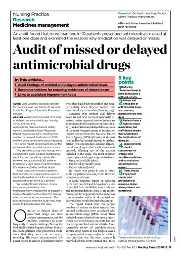 Audit of missed or delayed antimicrobial drugs - Nursing Times