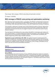 BSC arranges a PRACE code porting and optimization workshop 11 ...