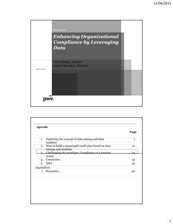 Enhancing Organizational Compliance by Leveraging Data