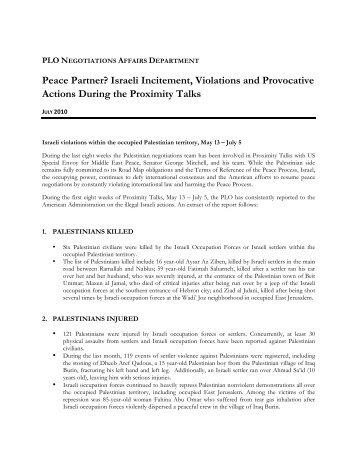 Peace Partner? Israeli Incitement, Violations and Provocative ...