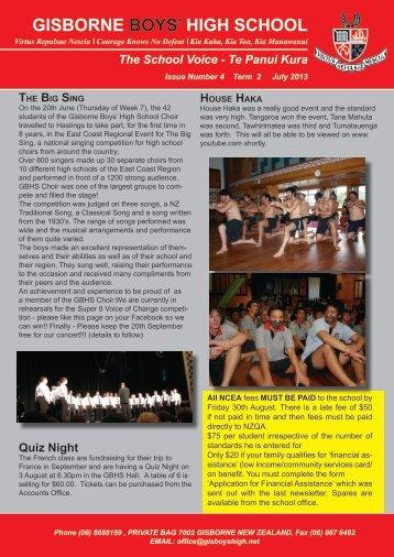 Latest Newsletter - Gisborne Boys' High School