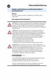 Aktualisierung Benutzerhandbuch PF 70