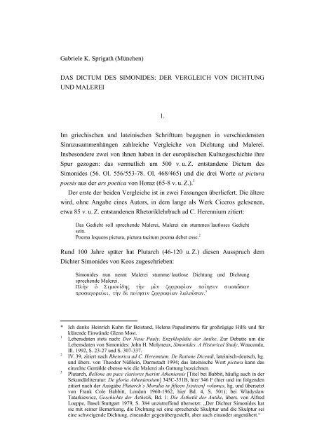 DAS DICTUM DES SIMONIDES - Seminar für Geistesgeschichte ...