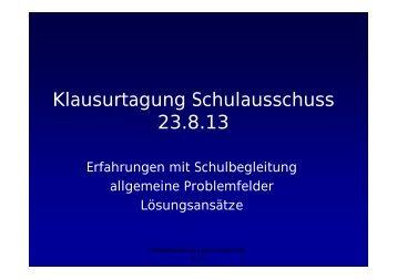 Klausurtagung Schulausschuss 23.8.13 - Stadtelternrat Hannover