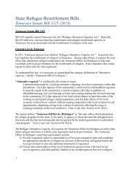 State Refugee Resettlement Bills: Tennessee Senate Bill 1325
