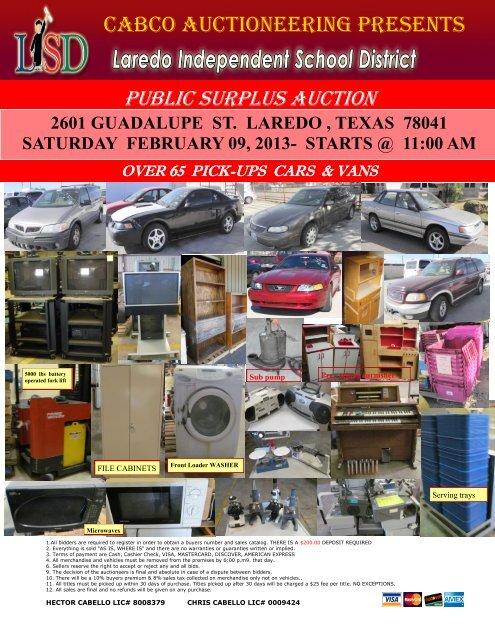 b04c27c980 cabco auctioneering presents public surplus auction - Laredo ISD