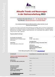 Aktuelle Trends und Neuerungen in der Steinverarbeitung 2013