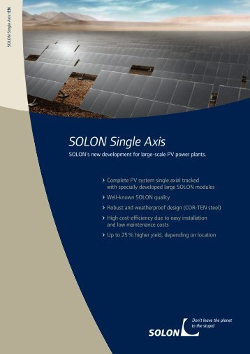 SOLON Single Axis - CBD Energy