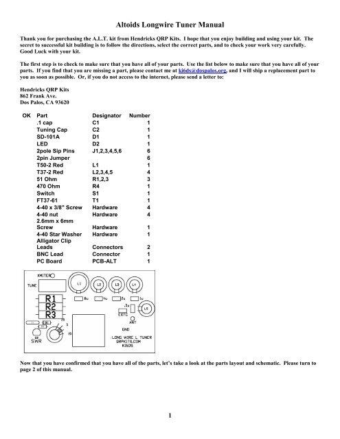 Altoids Longwire Tuner Manual - Hendricks QRP Kits