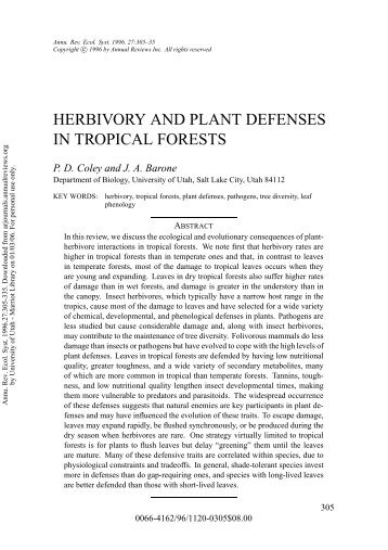 herbivory and plant defenses in tropical forests - CDAM