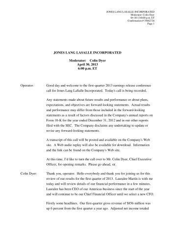 Colin Dyer April 30, 2013 6:00 pm ET Operator - Jones Lang LaSalle