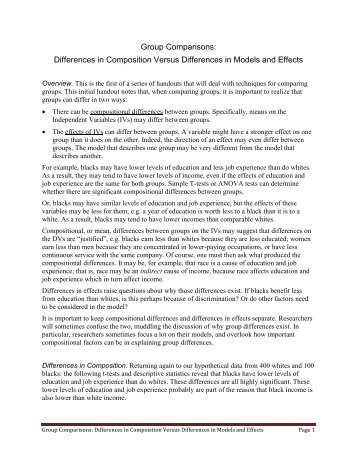 Differences in Composition Versus Differences in Models and Effects