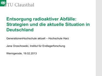 Entsorgung radioaktiver Abfälle: Technische ... - Hochschule Harz