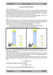 Experimente mit der Fallröhre - Treminer.de